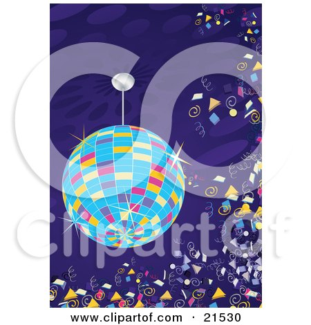Clipart Illustration of a Colorful Sparkling Disco Ball Circling Over A Dance Floor With Confetti Floating In The Air At A New Year's Party Or Night Club by Paulo Resende