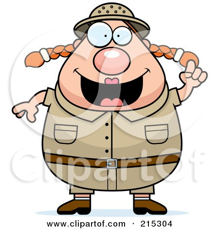 Royalty-Free (RF) Clipart Illustration of a Plump Safari Woman With An Idea by Cory Thoman