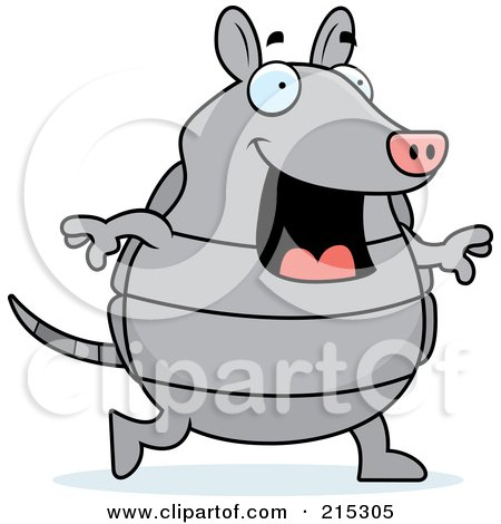 Royalty-Free (RF) Clipart Illustration of a Happy Armadillo Walking by Cory Thoman