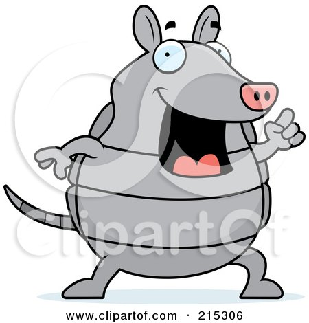 Royalty-Free (RF) Clipart Illustration of a Happy Armadillo With An Idea by Cory Thoman