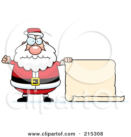 Royalty-Free (RF) Clipart Illustration of a Plump Angry Santa With A Blank Scroll Sign by Cory Thoman