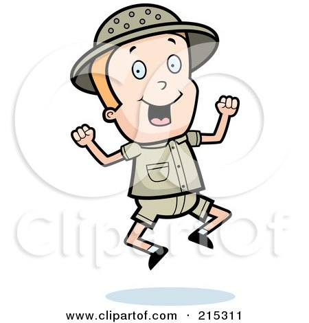 Royalty-Free (RF) Clipart Illustration of a Blond Safari Boy Jumping by Cory Thoman