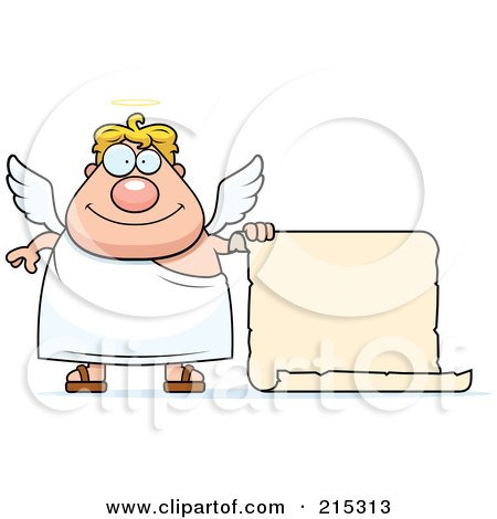 Royalty-Free (RF) Clipart Illustration of a Plump Blond Male Angel With A Blank Scroll Sign by Cory Thoman