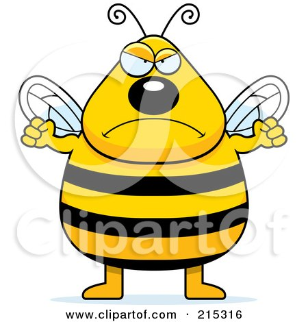 Royalty-Free (RF) Clipart Illustration of a Plump Angry Bee by Cory Thoman