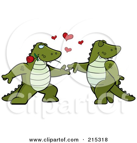 Royalty-Free (RF) Clipart Illustration of a Romantic Alligator Pair Dancing by Cory Thoman