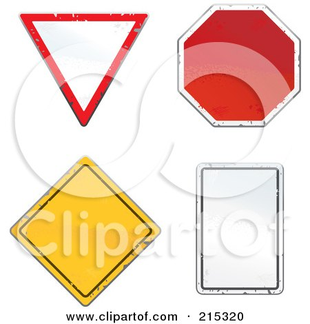 Royalty-Free (RF) Clipart Illustration of a Digital Collage Of Four Beat Up Road Signs by Cory Thoman