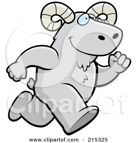 Royalty-Free (RF) Clipart Illustration of a Ram Running Upright by Cory Thoman