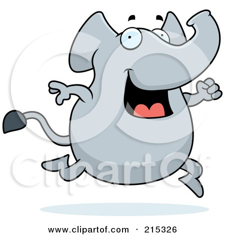 Royalty-Free (RF) Clipart Illustration of a Happy Elephant Running by Cory Thoman
