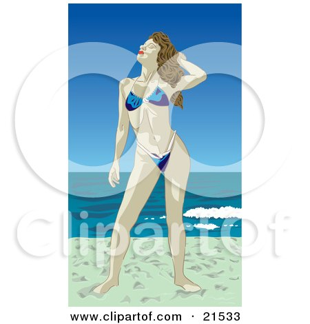 Clipart Illustration of a Brunette Caucasian Womanin A Blue Bikini, Standing In The Sun On A Sandy Beach While Enjoying Her Vacation At The Coast by Paulo Resende
