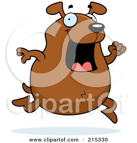 Royalty-Free (RF) Clipart Illustration of a Chubby Brown Dog Running by Cory Thoman