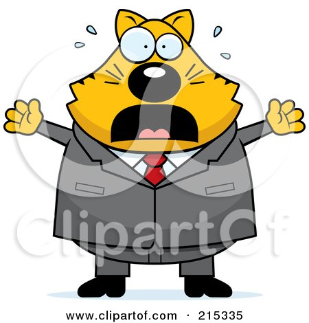 Royalty-Free (RF) Clipart Illustration of a Plump Scared Business Cat by Cory Thoman