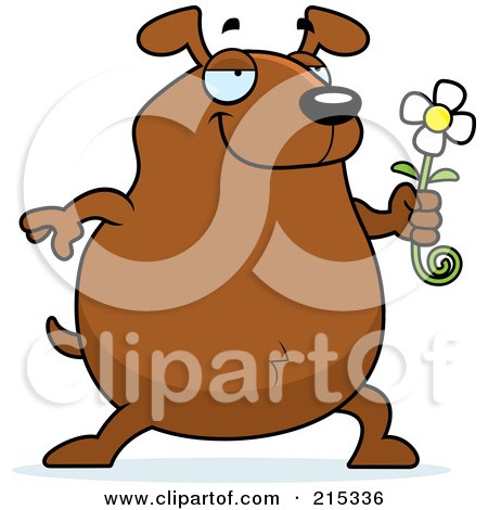 Royalty-Free (RF) Clipart Illustration of a Chubby Brown Dog Presenting a Daisy by Cory Thoman