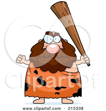 Royalty-Free (RF) Clipart Illustration of a Plump Caveman Holding Up A Club by Cory Thoman
