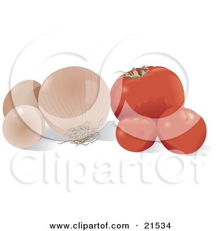 Clipart Illustration of a Still Life Of Red Tomatoes, A White Onion And Two Chicken Eggs On A Kitchen Counter by Paulo Resende