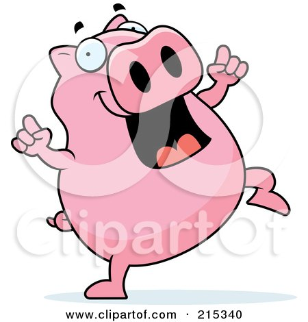 Royalty-Free (RF) Clipart Illustration of a Pink Pig Doing A Happy Dance by Cory Thoman