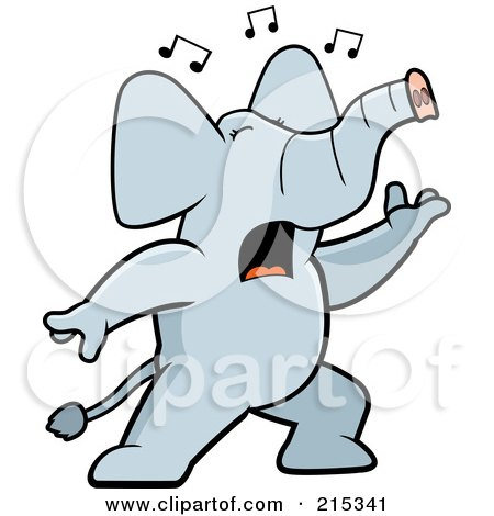Royalty-Free (RF) Clipart Illustration of a Singing Elephant With Music Notes by Cory Thoman