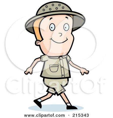 Royalty-Free (RF) Clipart Illustration of a Blond Safari Boy Walking by Cory Thoman