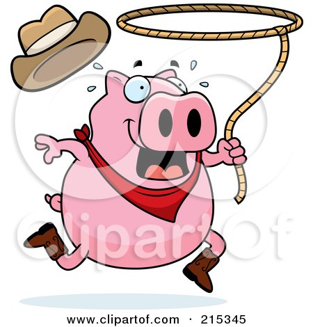 Royalty-Free (RF) Clipart Illustration of a Pink Rodeo Pig Swinging A Lasso by Cory Thoman
