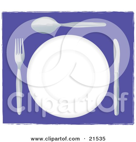 Clipart Illustration of a White Plate With Silverware Resting On A Purple Table At A Diner by Paulo Resende