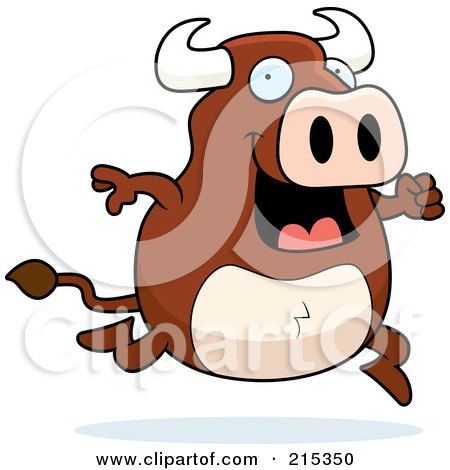 Royalty-Free (RF) Clipart Illustration of a Happy Bull on the Run by Cory Thoman