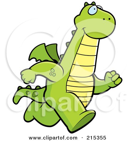 Royalty-Free (RF) Clipart Illustration of a Dragon Running Upright by Cory Thoman