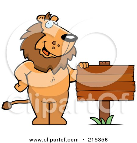Royalty-Free (RF) Clipart Illustration of a Friendly Lion Standing By A Blank Wood Sign by Cory Thoman