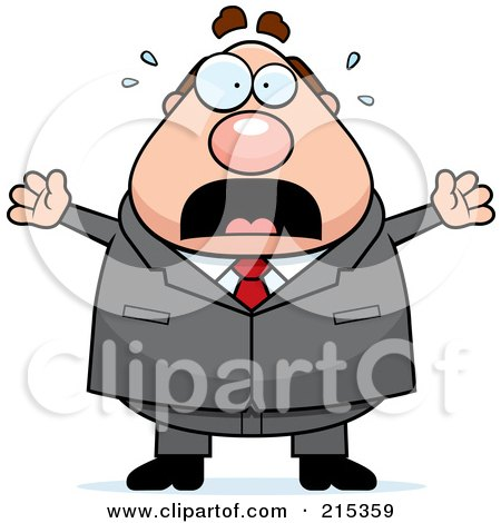 Royalty-Free (RF) Clipart Illustration of a Plump Businessman Frozen In Fear by Cory Thoman
