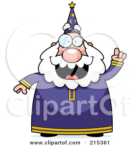 Royalty-Free (RF) Clipart Illustration of a Plump Old Wizard With An Idea by Cory Thoman