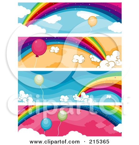 R oyalty-Free (RF) Clipart Illustration of a Digital Collage Of Four Balloon And Rainbow Banners by BNP Design Studio