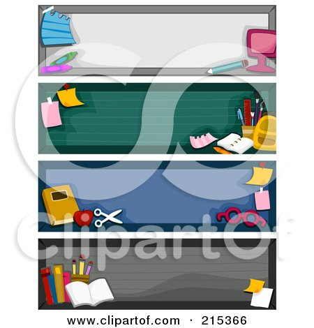 R oyalty-Free (RF) Clipart Illustration of a Digital Collage Of Four Educational School Banners by BNP Design Studio