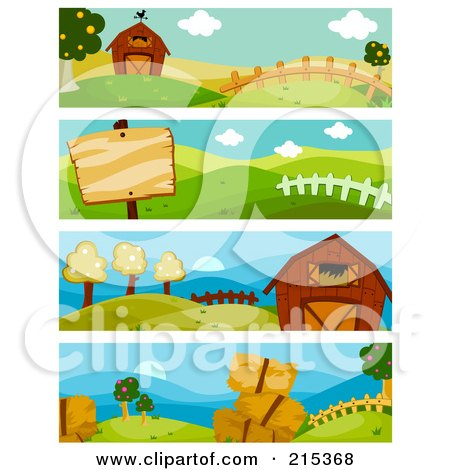 R oyalty-Free (RF) Clipart Illustration of a Digital Collage Of Four Farm Scene Banners by BNP Design Studio