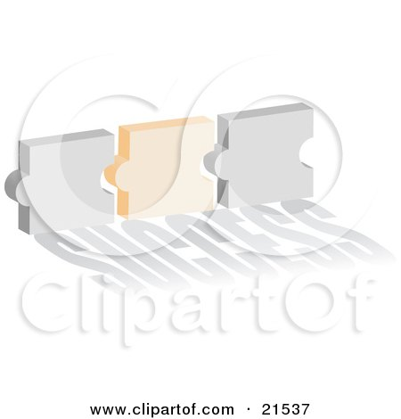 Clipart Illustration of Gray And Orange Puzzle Pieces Coming Together, Symbolizing Success And Website Linking by Paulo Resende