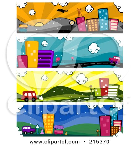 R oyalty-Free (RF) Clipart Illustration of a Digital Collage Of Four Urban Banners by BNP Design Studio