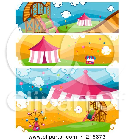 R oyalty-Free (RF) Clipart Illustration of a Digital Collage Of Four Amusement Park Banners by BNP Design Studio