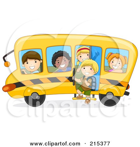 Royalty-Free (RF) Clipart Illustration of Diverse School Kids On A Bus - 1 by BNP Design Studio