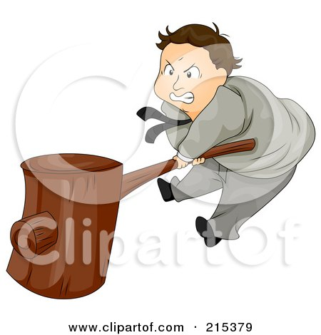 Royalty-Free (RF) Clipart Illustration of a Pissed Businsesman Banging A Wooden Hammer by BNP Design Studio