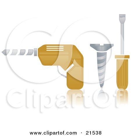 Clipart Illustration of an Electric Hand Drill, Silver Screw And Yellow Handled Screwdriver On A Reflective White Surface by Paulo Resende