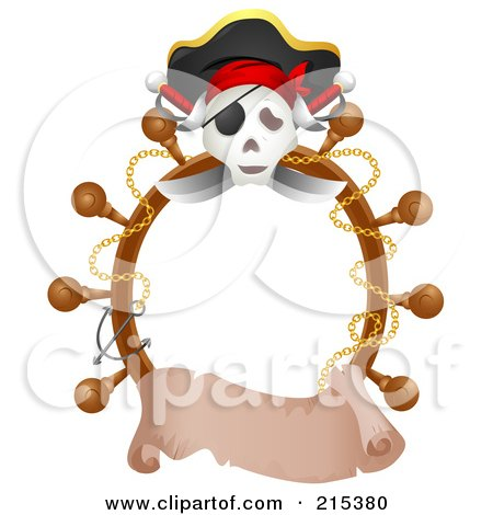 Royalty-Free (RF) Clipart Illustration of a Jolly Roger And Helm Border With A Blank Banner by BNP Design Studio