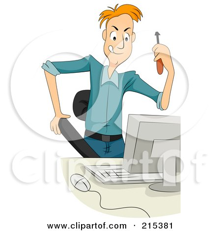 Royalty-Free (RF) Clipart Illustration of a Computer Technician Holding A Screwdriver by BNP Design Studio