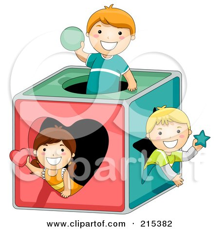 Royalty-Free (RF) Clipart Illustration of a Group Of Kids Playing In A Shape Box by BNP Design Studio