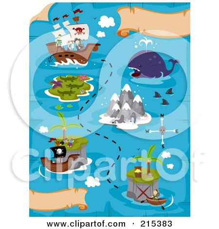 Royalty-Free (RF) Clipart Illustration of a Treasure Map With A Ship And Islands by BNP Design Studio