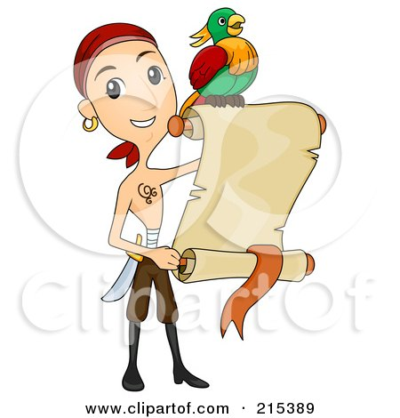 Shirtless Pirate Man And Parrot With A Blank Parchment Scroll Posters, Art Prints