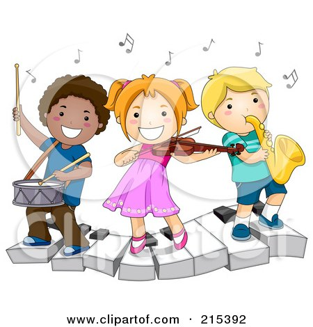 Royalty-Free (RF) Clipart Illustration of Diverse School Kids Playing Instruments On A Keyboard by BNP Design Studio