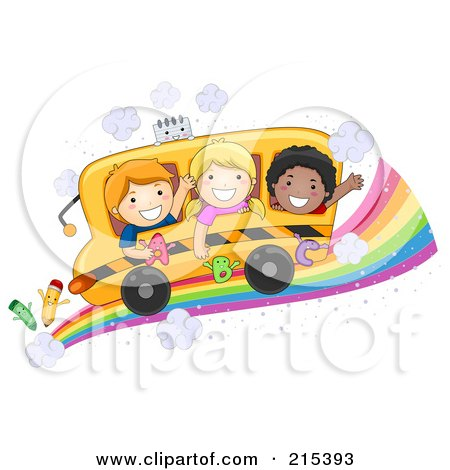 Royalty-Free (RF) Clipart Illustration of Diverse School Kids On A Bus On A Rainbow Road by BNP Design Studio