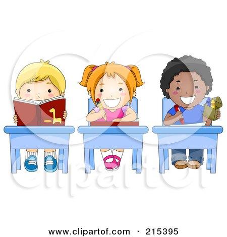Royalty-Free (RF) Clipart Illustration of Diverse School Kids Doing Work At Their Desks by BNP Design Studio