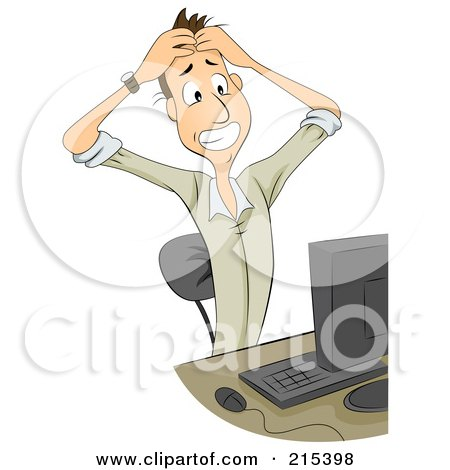 Royalty-Free (RF) Clipart Illustration of a Frustrated Businessman Holding His Hair And Sitting In Front Of A Computer by BNP Design Studio