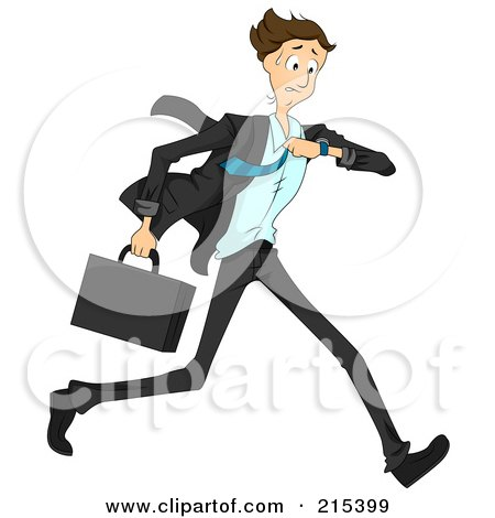 Royalty-Free (RF) Clipart Illustration of a Hurried Businessman Running And Checking His Wrist Watch by BNP Design Studio