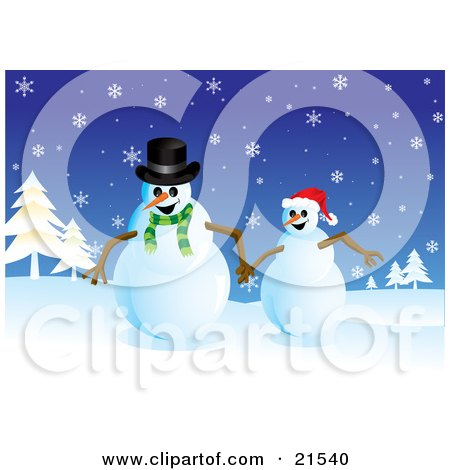 Clipart Illustration of Two Happy Snowmen Running And Holding Hands In A Snowy Christmas Winter Landscape by Paulo Resende
