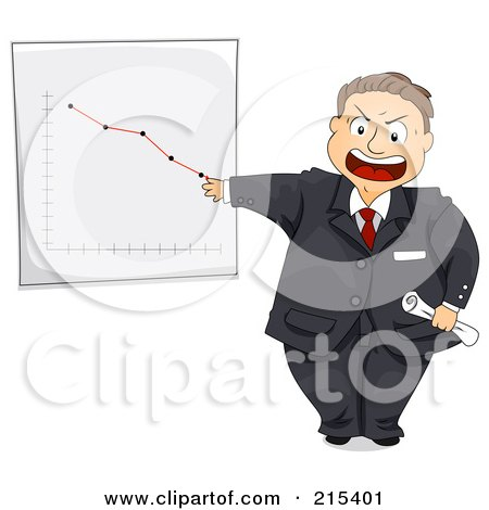 Royalty-Free (RF) Clipart Illustration of a Pissed Manager Discussing A Chart Showing A Decrease In Sales by BNP Design Studio