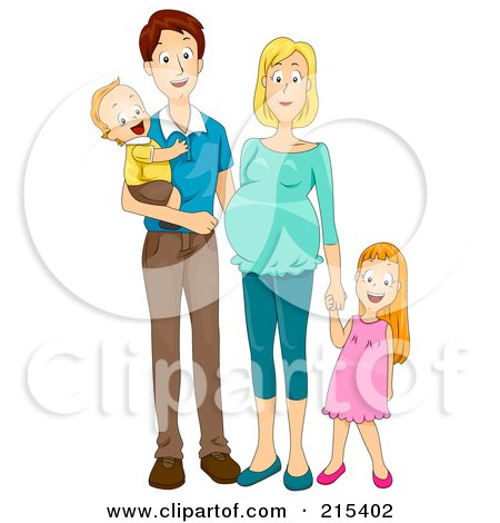 Royalty-Free (RF) Clipart Illustration of a Happy Family With A Pregnant Mommy
